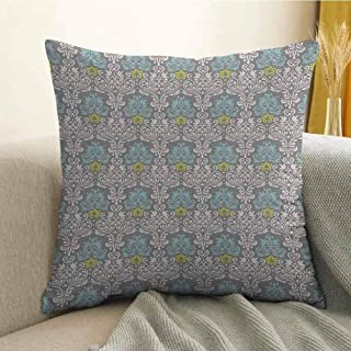 Grey Blue Bedding Soft Pillowcase Traditional Colorful Damask Pattern with Floral Elements on Greyscale Background Hypoallergenic Pillowcase W20 x L20 Inch Multicolor
