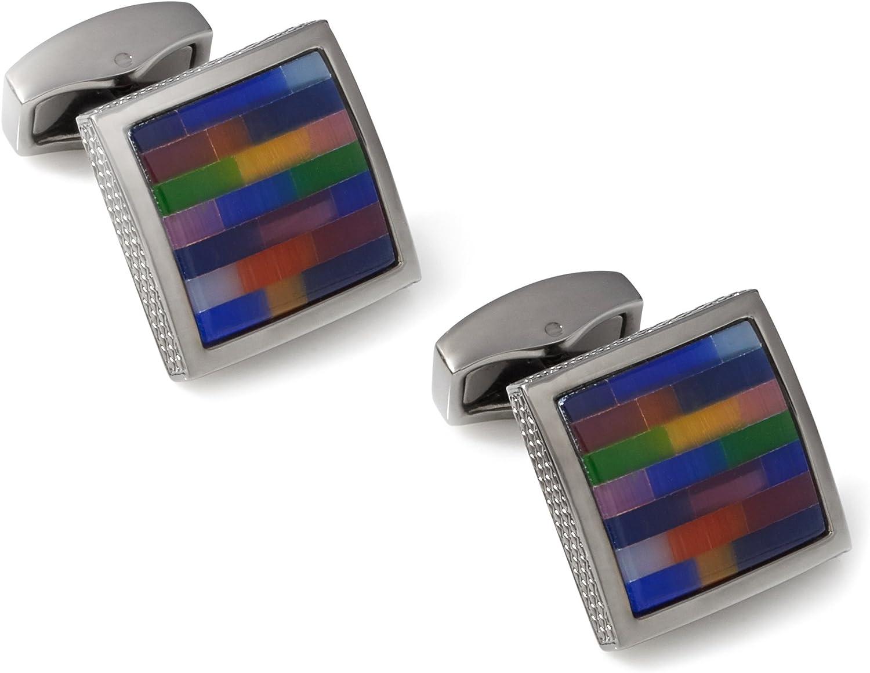 Tateossian Metal Multi-Colored Cushion Gunmetal and Fiber Optic Glass Cufflinks