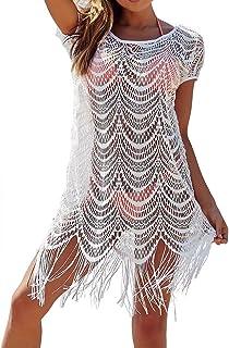Anatoky Womens Crochet Hollow Tassel Swimming Suit Bikini Cover Up