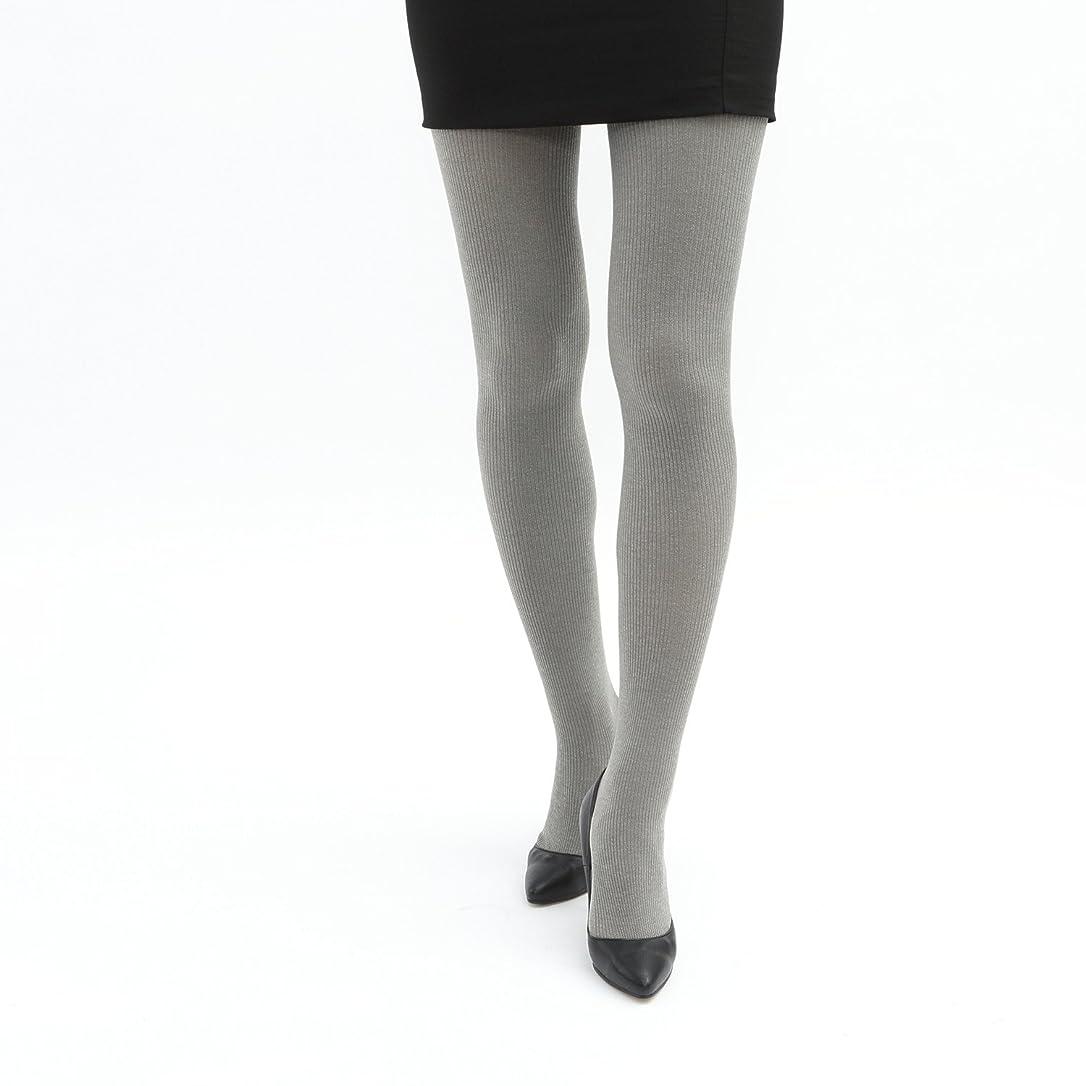ベリオープニング微弱[靴下屋]クツシタヤ 吸湿発熱2×1リブタイツ M~L 日本製