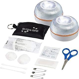 2x HELP FLASH - luz emergencia AUTÓNOMA, señal preseñalización peligro+linterna, homologada, normativa DGT, V16, base iman...