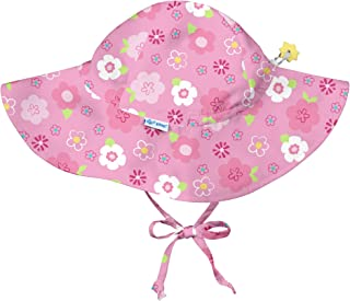 i play。 女童幼儿粉红色花卉印花帽檐帽带拨片 2T-4T,2T/4T