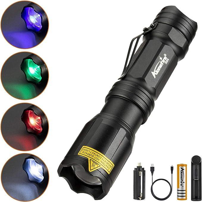 723 opinioni per Alonefire X004 4 Colori in 1 Torcia Tattica LED Professionale, Luce Rossa Verde