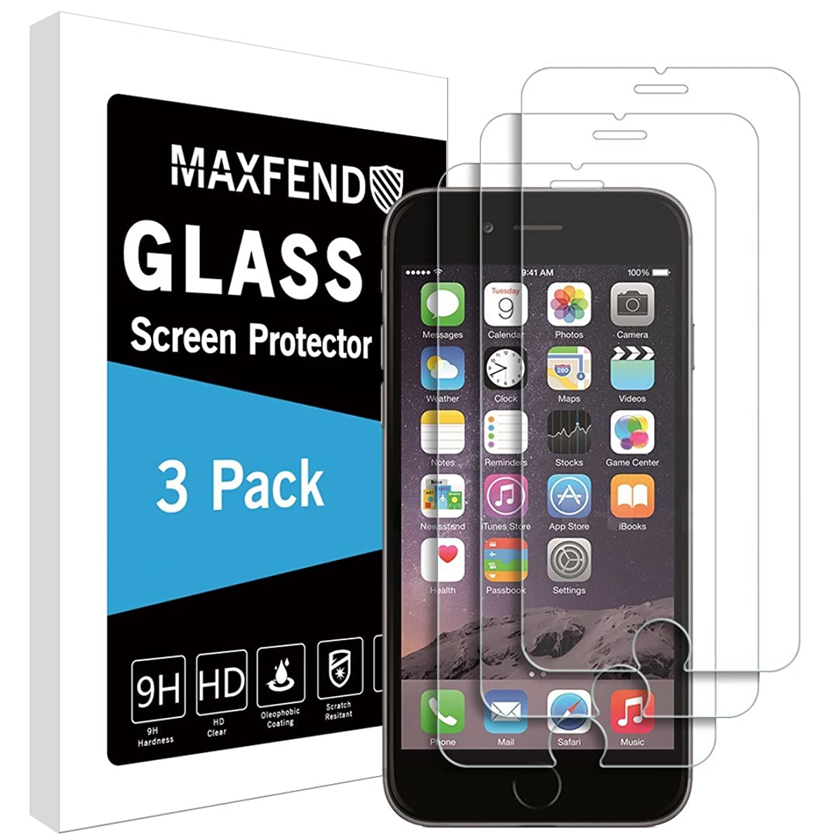 MAXFEND [3 Pack] for Apple iPhone 6 / iPhone 6s [Tempered Glass] Screen Protector [Anti-Scratch] [Anti-Fingerprint] [Bubble Free] with Lifetime Replacement Warranty