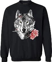 Awkward Styles Unisex Wild Wolf with Roses Sweatshirts Crewneck