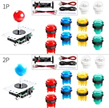 Hikig 2-Player LED DIY Arcade Kit for PC, MAME, Raspberry Pi 2X Zero Delay USB Encoder + 2X Arcade Joystick + 20x LED Arcade Buttons - Mixed Xbox 360 Controller Color Version