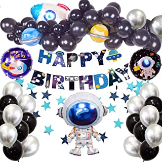 Outer Space Birthday Party Decorations 76pcs Rocket Balloons Solar System Happy Birthday Banner Metallic Silver Black Latex Balloons Garland Streamer Backdrop