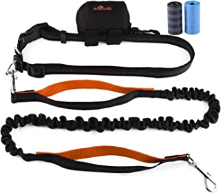 Aivituvin Hands Free Dog Leash for Running, Walking, Running, Training - Adjustable Waistbelt Pouch, Dual Reflective Handle with Strong Bungee for Large, Medium, Small Puppy - Poop Bag Holder Rolls