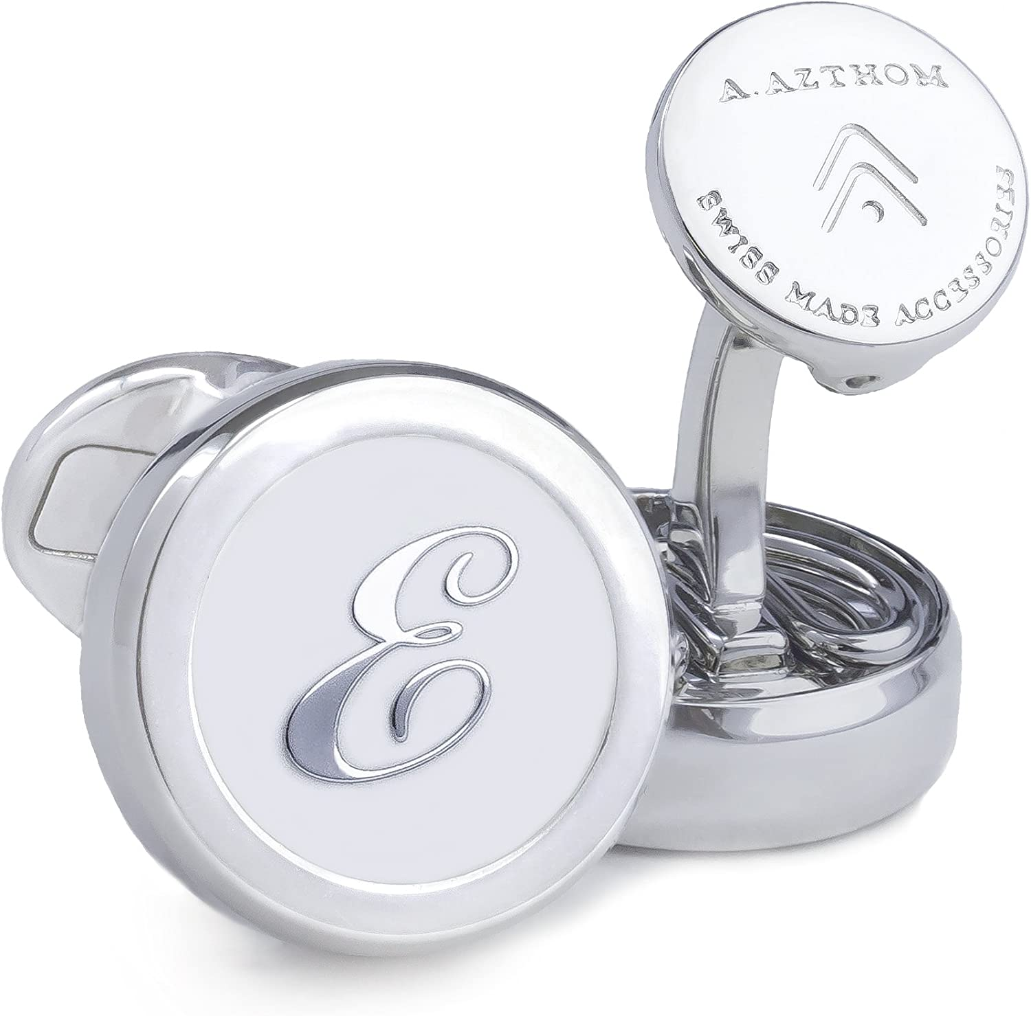 Azthom Cufflinks with Letter  E  White and Silver Button Covers