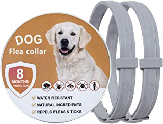 2 Pack Flea and Tick Collar for Dogs, Adjustable & Waterproof Dog Flea Collar, Natural Flea Collar for Dogs with 8 Months ...