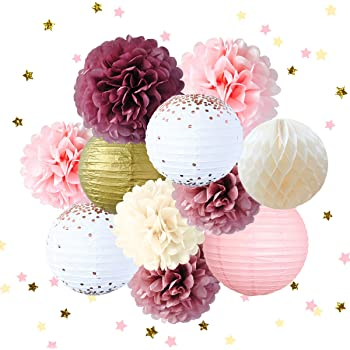 Party Supplies Kit Mixed Pink Paper Flower Pom Pom Gold /& Ivory Party Supplies-Elegant Party Decorations Birthday /& Engagement,Unicorn Party Decorations Pink Ivory Gold - 22 Pcs Set