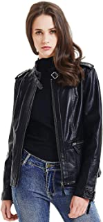 Artfasion Womens Slim Tailoring Faux Leather PU Short Jacket Coat Moto Biker Jacket