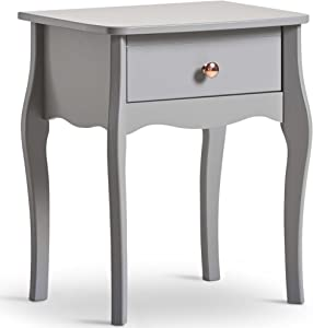 Beautify Grey 1 Drawer Bedside Table – Vintage Style with Rose Gold Handles – 1 Drawer Bedroom Storage Unit