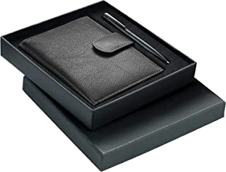 Gift Set For Men I Genuine Leather Passport Case Wallet with Pen I Gift Box Packing- Classic Black Collection By Santhome