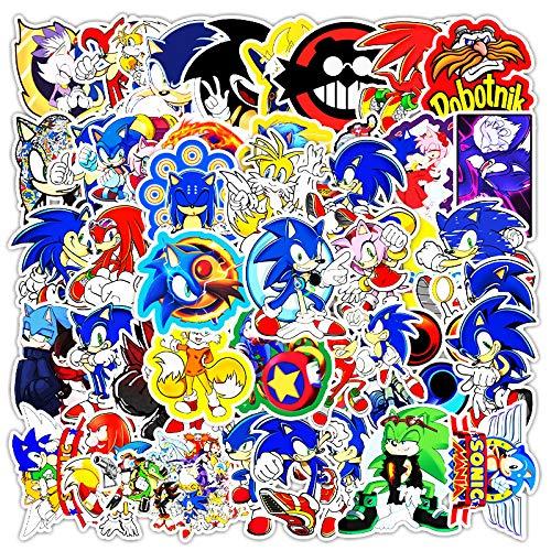 WYDML Pegatina Decorativa de Dibujos Animados Sonic Anime, Maleta, portátil, Scooter, Coche, Pegatina Impermeable, 50 Uds.
