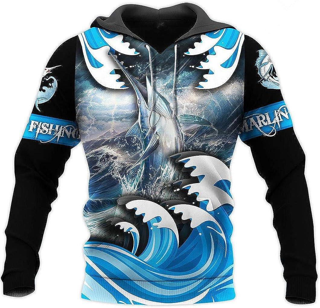 Sweat à Capuche pour Hommes Marlin Fishing 3D All Over Sweatshirt imprimé Harajuku Vestes Blue
