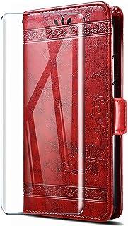 HYMY Leather fodral för Wiko View 3 Lite + skärmskydd - Red Retro Embossing TPU Silikon + PU Protection fodral Fashion Ski...