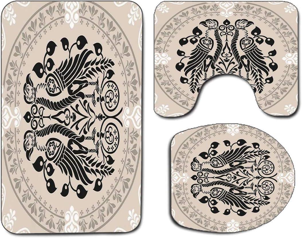3Pcs Non-Slip Bathroom Rug Toilet Seat Lid Cover Set Vintage Soft Skidproof Bath Mat Ethnic Heraldic Eagle Birds with Damask Floral Figures Victorian Retro Design,Tan Black White Absorbent Doormat Bed