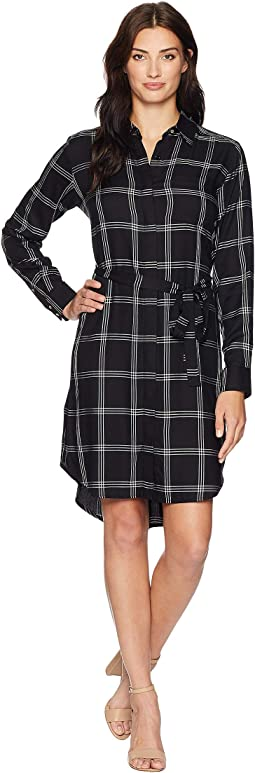 Rayon Plaid Shirtdress CD8E24TC