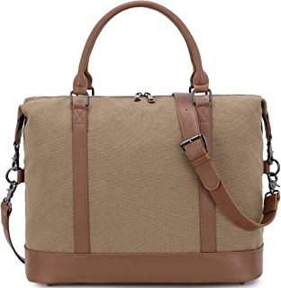 Women Ladies Weekender Bag Overnight Carry-on Tote Duffel in Trolley Handle (Brown)