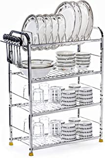 Home Creations 4 Layer Stainless Steel Modern Kitchen Organizer, Utensils Rack with Plate and Cutlery Stand (18 X 24 Inch,...