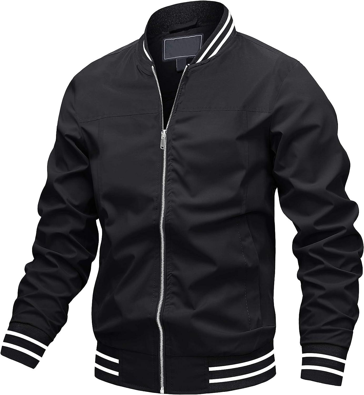 TOTNMC Mens Bomber Jackets Lightweight Zip Up Jacket Casual Varsity Jacket Slim Fit Black