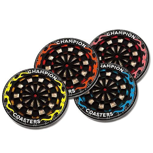 Allbusky Bullseye Dart Retro Coasters Cup Placemat Bar Darts Board Mat Round Cup Mat Good Gift Set of 4 (Dart Style)