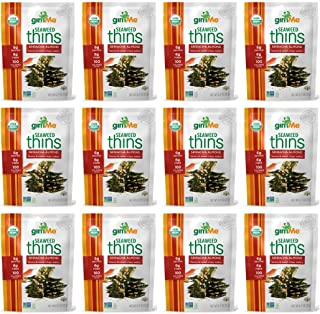 gimMe Snacks - Organic Seaweed Thins - Sriracha Almond - (0.77oz) - (Pack of 12) - non GMO, Gluten Free - Healthy on-the-go snack for kids & adults
