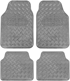 BDK Universal Fit 4-Piece Set Metallic Design Car Floor Mat - Heavy Duty All Weather with Rubber Backing (Carbon), MT-642-CB