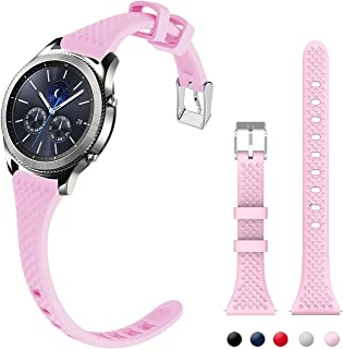 silicone maid LLC Compatible with Gear S3 Bands, Narrow Wristband Women Rubber Watch Strap Quick Release Metal Clasp Replacement for Samsung Gear s3 Frontier/s3 Classic Watch, Soft Pink 22mm