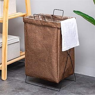 Générique Panier à Linge Pliable en X pour buanderie, Chambre à Coucher ou Salon, Lin + métal, café, 38x28x55cm