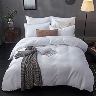 Merryfeel Duvet Cover Set, 100% Cotton Sand Washed Waffle Weave Duvet Cover Set,3 Pieces Bedding Set - Full/Queen White