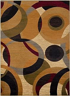 Contemporary Area Rug. Burnt Orange, Tan, Khaki, Olive, Dark Red, Black, Dark Brown, Me 7'10