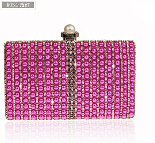 Redland Art Women's Fashion Sparkly Mini Clutch Bag Wristlet Evening Handbag Catching Purse Bag for Wedding Party (Color : Rose Red)