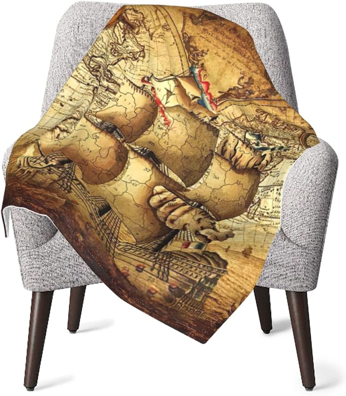 Super-cheap Vintage Pirate Nautical Map Baby Ranking TOP11 Comfy Soft Blanket Bre Newborn