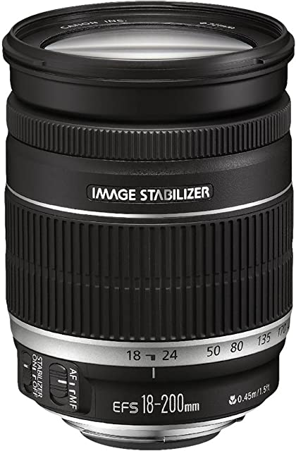 Canon EF 18-200mm f/3.5-5.6 IS - Objetivo para Canon (Distancia Focal 18-200mm Apertura f/3.5-36 Zoom óptico 11xestabilizador diámetro: 72mm) Negro