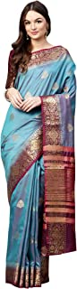 AKHILAM Women's Silk Blend Saree with Unstitched Blouse Piece (Turquoise_Free Size)