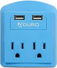 Aduro Surge Travel Size Power Portable Mini Multi Port Charging Station Hub, Blue