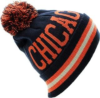 US Cities Block Letters Cuff Beanie Knit Pom Pom Hat Cap