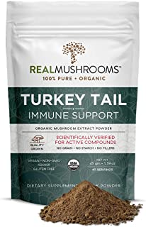 Organic Turkey Tail Mushroom Extract Powder by Real Mushrooms - Immune Booster - 45g Bulk Powder Supplement - Perfect for ...