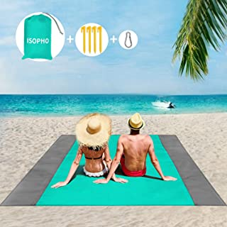 ISOPHO Beach Blanket, 79''×83'' Beach Blanket Waterproof Sandproof for 3-7 Adults, Oversized Lightweight Beach Mat, Portable Picnic Blankets, Sand Proof Mat for Travel, Camping, Hiking