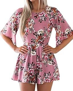 Women's Casual Floral Print Backless Ruffle Half Sleeve Slim Short Jumpsuit Rompers