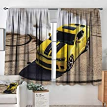 Mozenou Manly Waterproof Window Curtain Yellow Sports Car Drifting Photography Smoke Fast Speed Competition Picture Bedroom Blackout Curtains 63