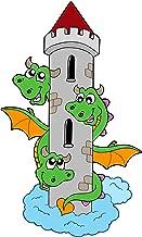 Three Headed Green Dragon with Castle Magical Creature Cartoon Vinyl Sticker (4