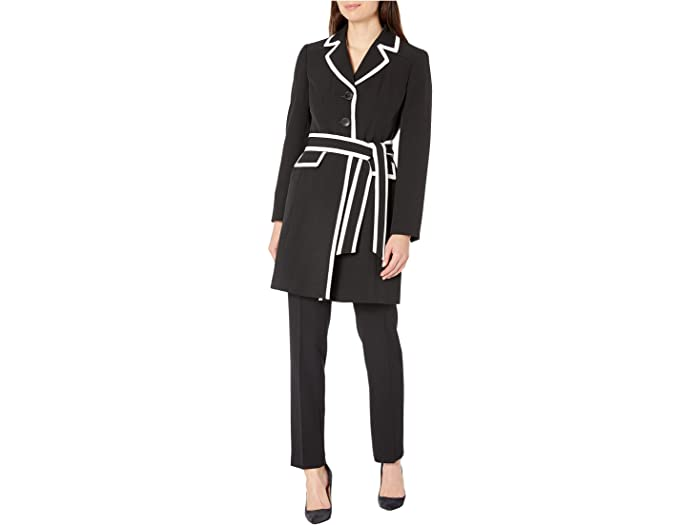 Le Suit Three-Button Piped Belted Crepe Topper Slim Pantsuit