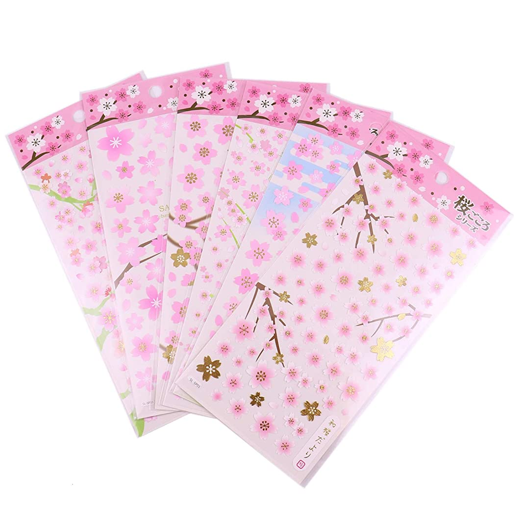 Monrocco 6 Sheets Sakura Stickers Decorative,Cherry Blossoms Stickers for Scrapbooking Craft