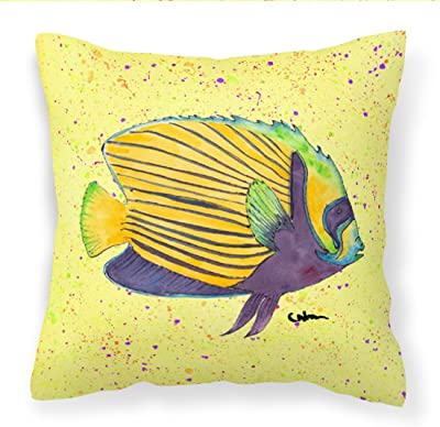 Multicolor Carolines Treasures 8530PW1414 Tropical Fish Decorative Canvas Fabric Pillow 14Hx14W