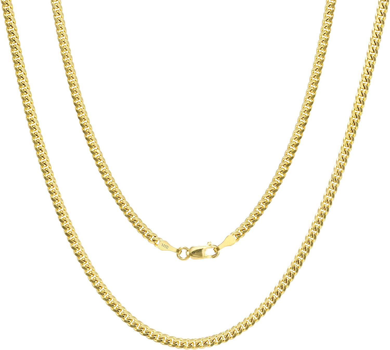 Nuragold 14k Yellow Gold 2.7mm Solid Miami Cuban Link Chain Pendant Necklace, Mens Womens Lobster Lock 18