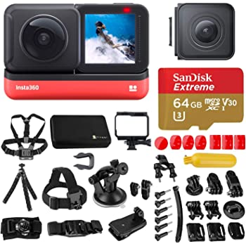 Insta360 ONE R Twin Edition Dual Lens 360 + 4K Wide-Angle Mods, Waterproof Sports and Action Camera Bundle with Froggi Extreme Sport Accessory Set, 64GB microSD Card