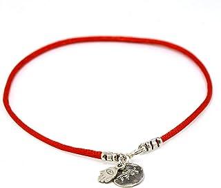 Cavigliera da donna con corda rossa per protezione ed energia positiva, lunghezza: 24cm